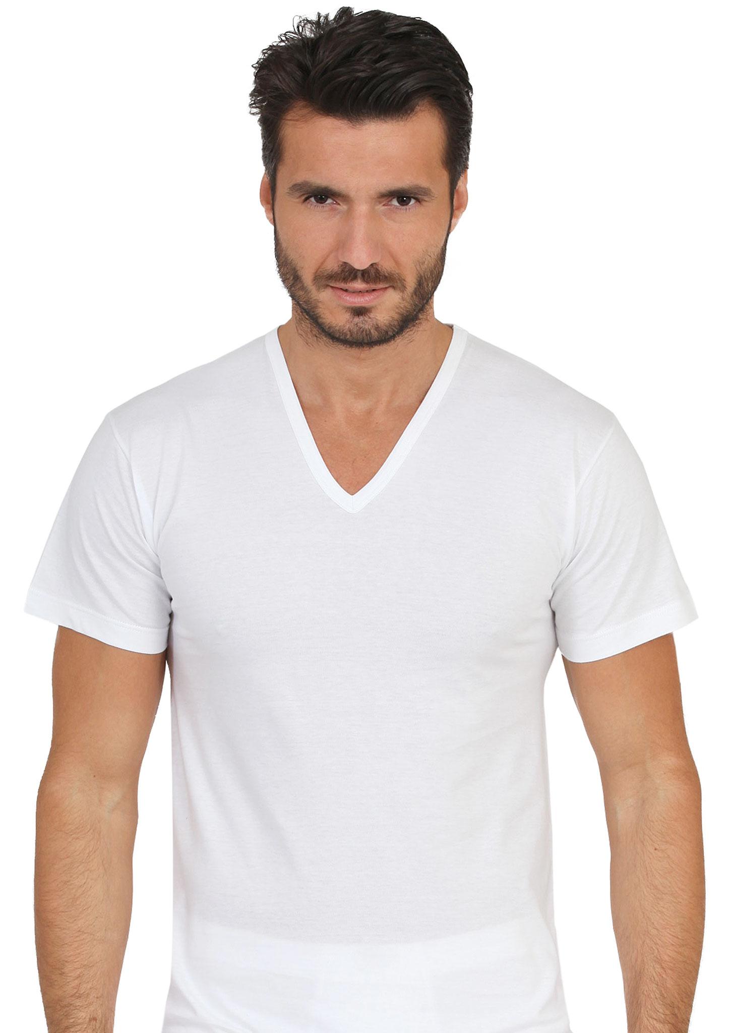 T Shirt Manica Corta Scollo A V In Cotone Jersey