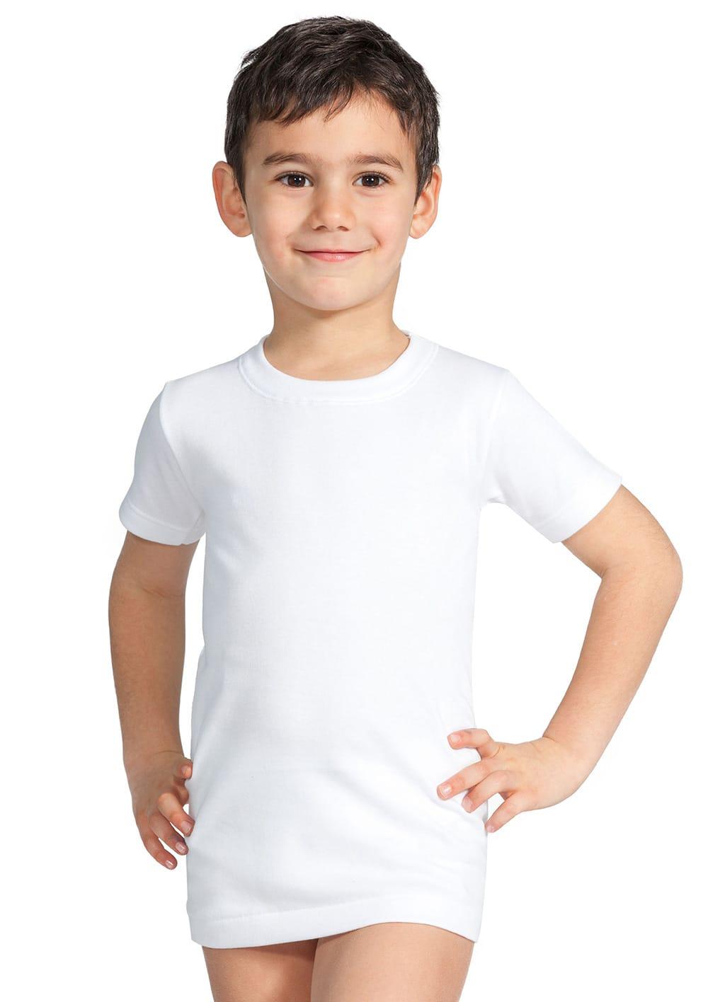 T Shirt Manica Corta Da Bambino In Cotone Interlock Felpato