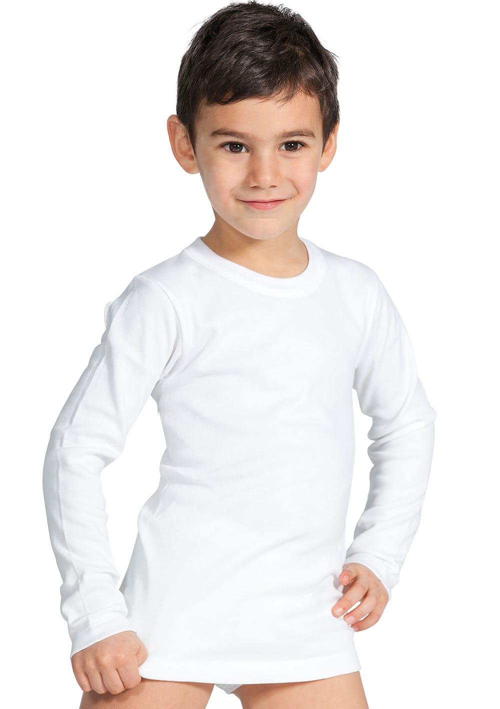 T Shirt Manica Lunga Da Bambino In Cotone Interlock Felpato