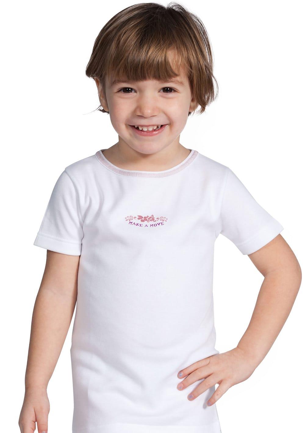 T Shirt Manica Corta Da Bambina In Cotone Interlock Felpato