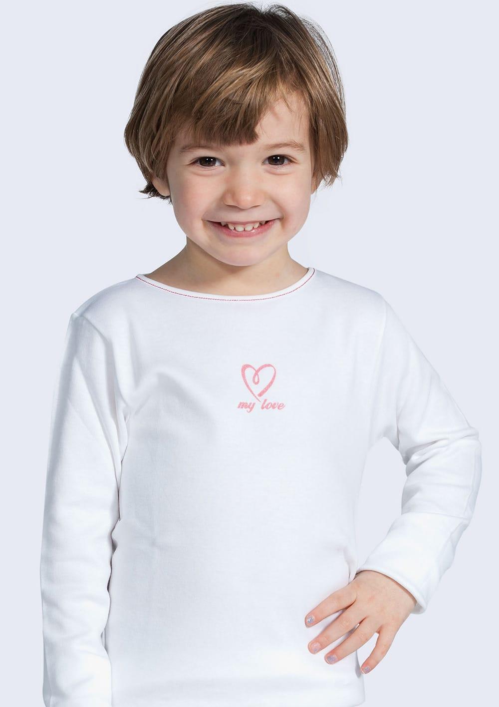 T Shirt Manica Lunga Da Bambina In Cotone Interlock Felpato