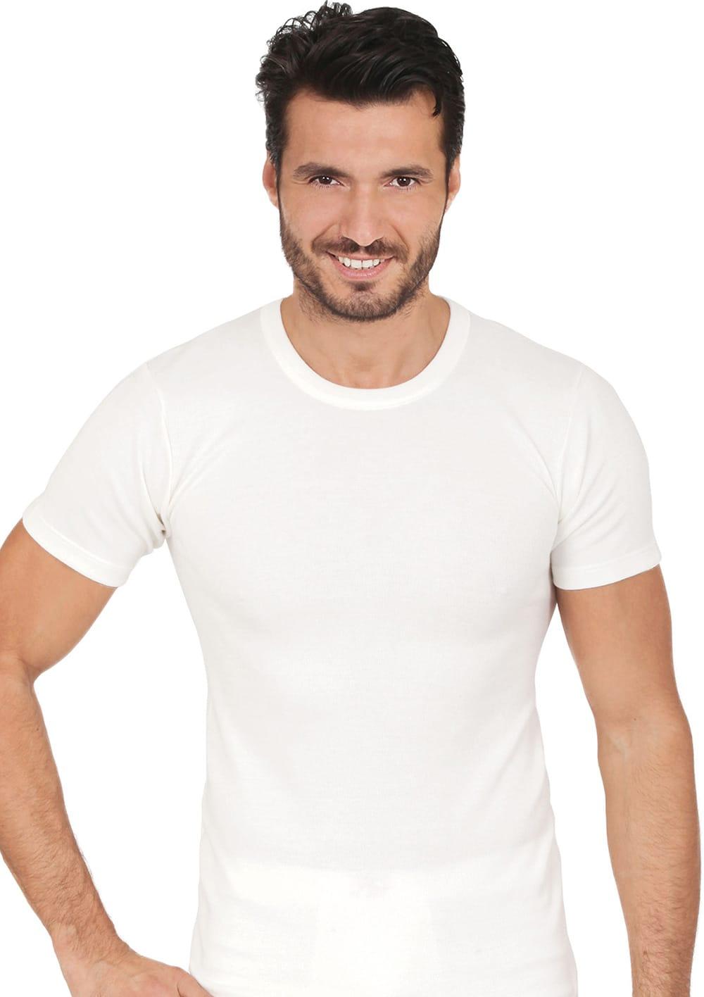T Shirt Manica Corta Girocollo In Interno Cotone Esterno Lana