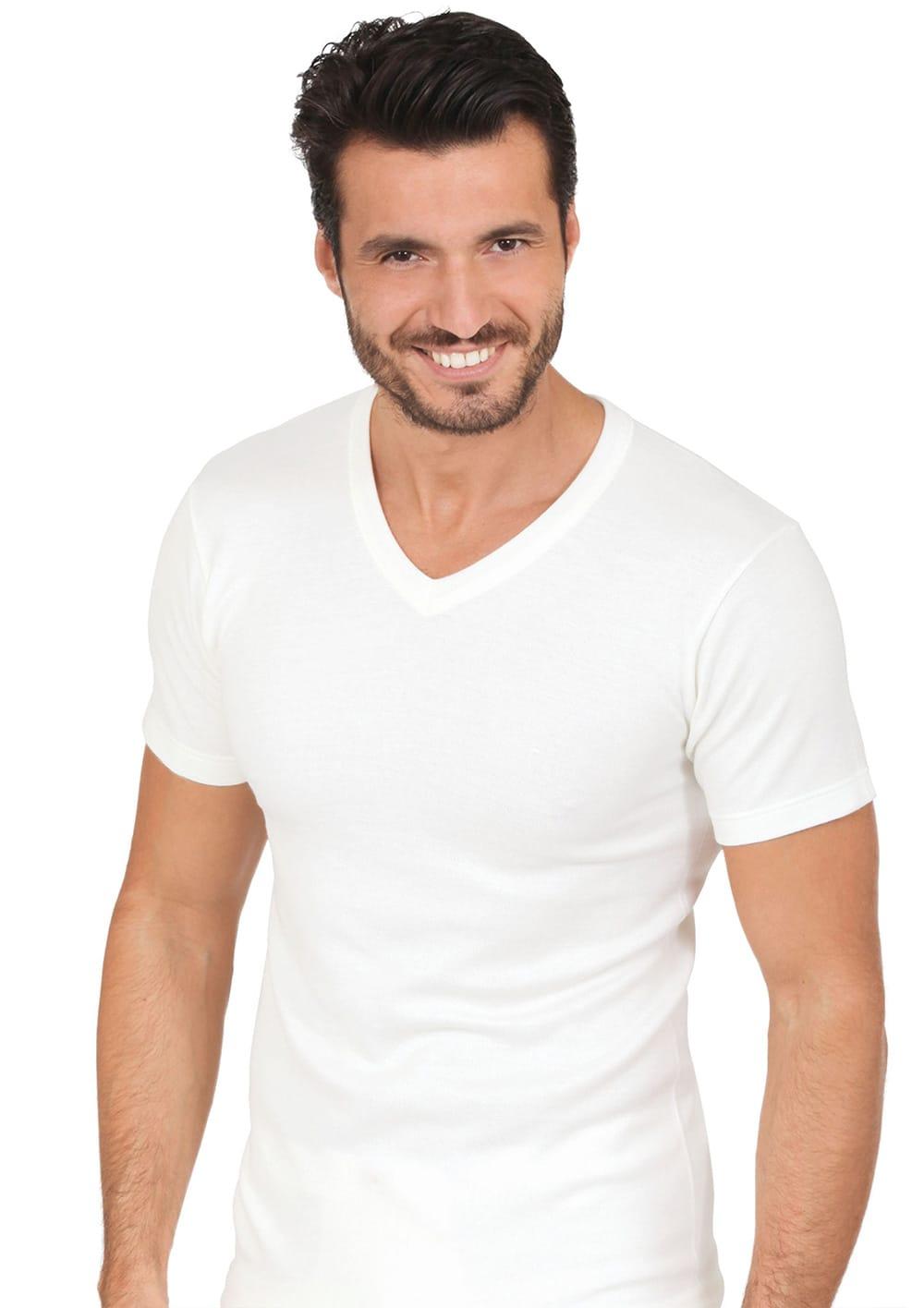T Shirt Manica Corta Scollo A V In Interno Cotone Esterno Lana