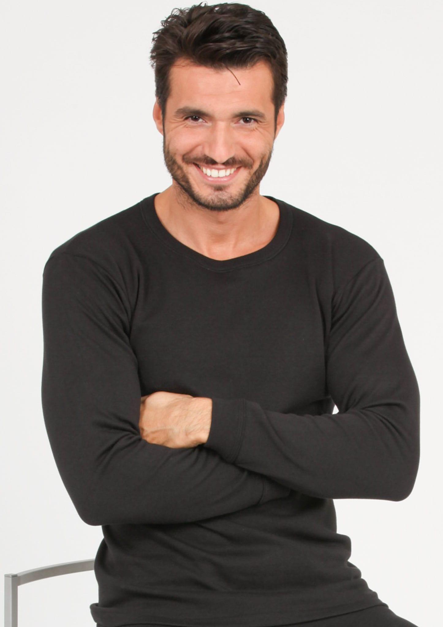 T Shirt Manica Lunga Girocollo In Lana Merinos E Microfibra