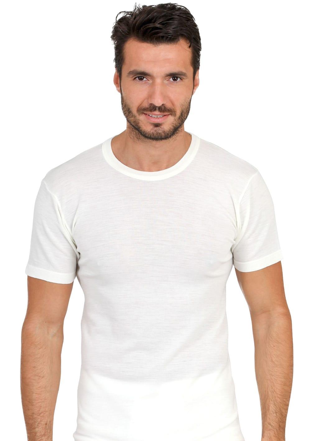 T Shirt Manica Corta Girocollo In Lana Merinos E Microfibra
