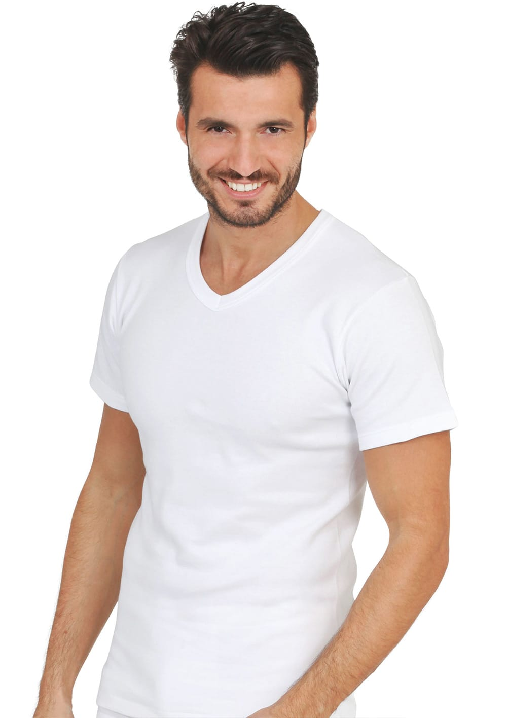 T Shirt Manica Corta Scollo A V Cotone Interlok Felpato
