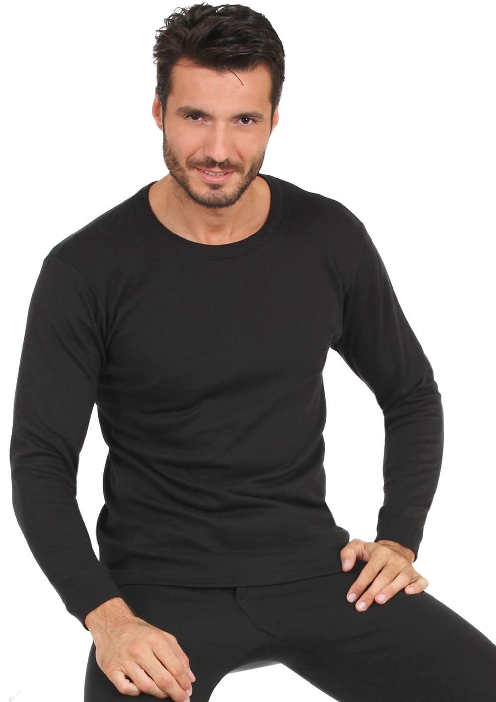 T Shirt Manica Lunga Girocollo In Cotone Interlock Felpato