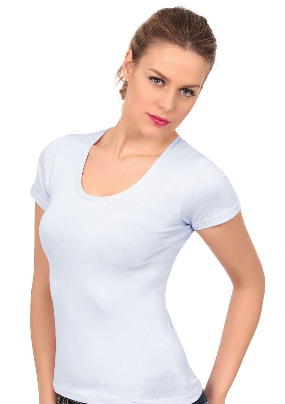 T Shirt Manica Corta Girocollo In Cotone Elasticizzato Costina Liscia
