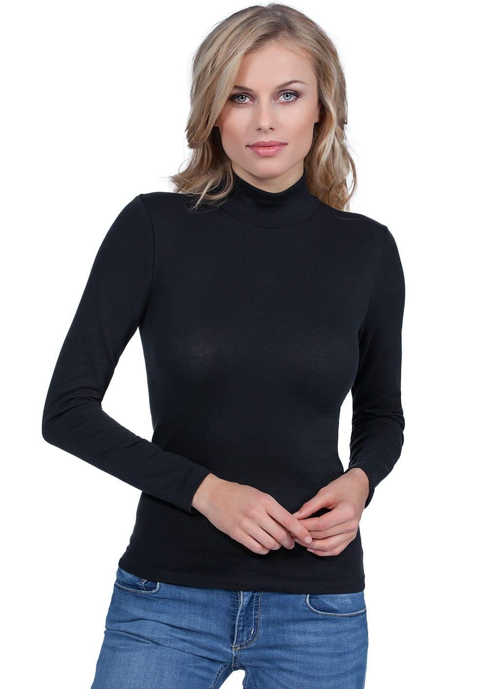 T Shirt Manica Lunga Lupetto In Cotone Elasticizzato Costina Liscia